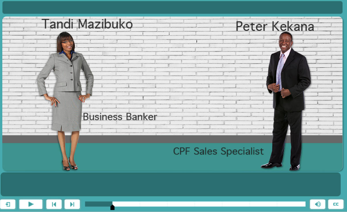 Introducing Tandi Mazibuko the Business Banker and Peter Kekana the CPF Sales Specialist to the Learners.